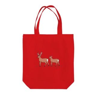 エゾシカカップル Tote bags