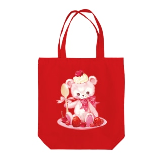 Berry Pink Bear Tote bags