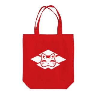 猫面の家紋(白) Tote bags