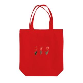 赤のチューリップ Tote bags