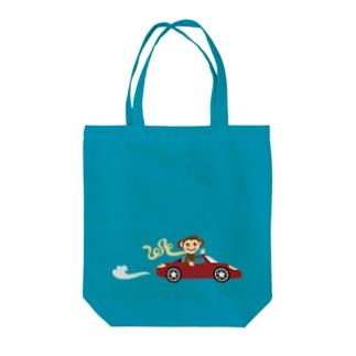 Monkey Driver Tote bags