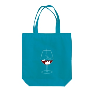 Wine glass girl Tote bags