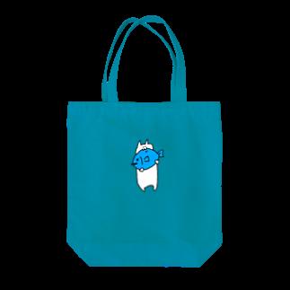豆腐[ 'ω' ]の青い魚食べるねこ Tote bags