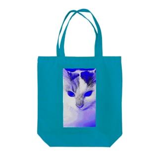 サイボーグ・フワフワ(ブルー) Tote bags
