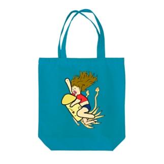 イカに乗った少女。 Tote bags