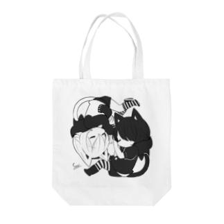 黒猫少年と白猫少年(モノクロ) Tote bags