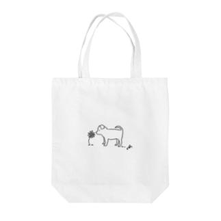 子犬と花 Tote bags