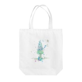 葉車-雪つもるもみの木- Tote bags