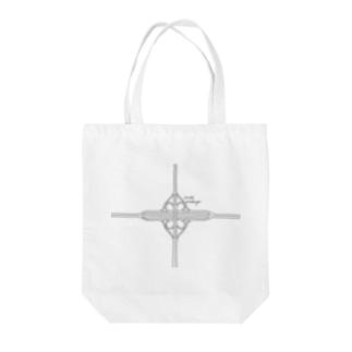 クローバー型インターチェンジ Tote bags