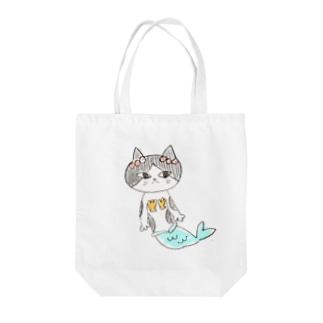 にゃんぎょ Tote bags