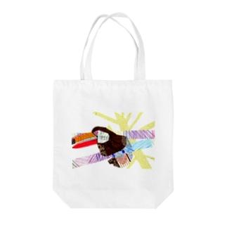 カラフルワールドのオニオオハシさん Tote bags