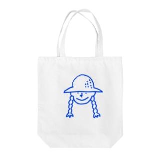 帽子の女の子 青 Tote bags