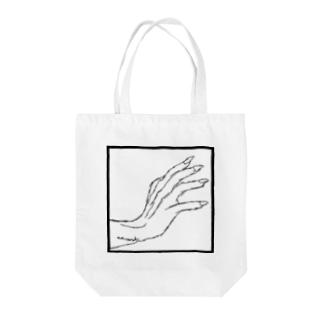 ストークハンド(white) Tote bags