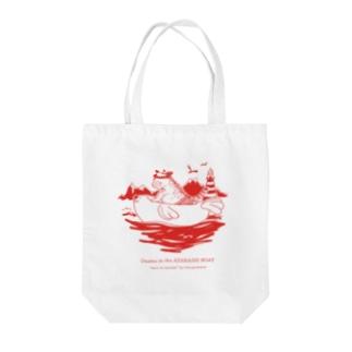 アザラシのボートで冒険するおさむ(赤) Tote bags