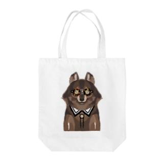 メガネをセロファンテープで貼り付けたオオカミ Tote bags