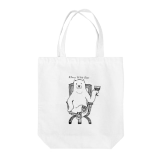 Classy White Bear Tote bags