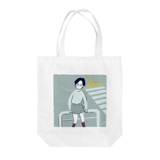 横断歩道でまちあわせちゃん Tote bags