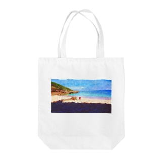 無人の浜辺 Tote bags