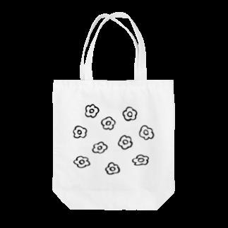 フラミンゴ洋裁店のフラワー 黒 Tote bags