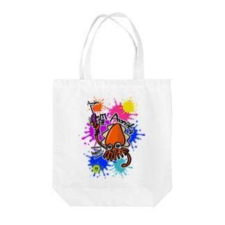(釣りざんまい)エギに釣られるアオリイカ ビビットカラーバージョン Tote bags