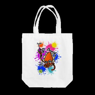 ワカボンドの(釣りざんまい)エギに釣られるアオリイカ ビビットカラーバージョン Tote bags