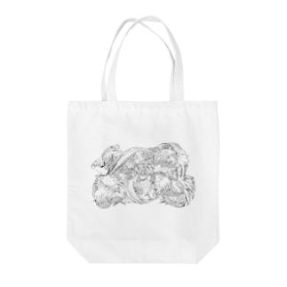 日本の美 葛飾北斎「群鶏」モノクロ版 Tote bags
