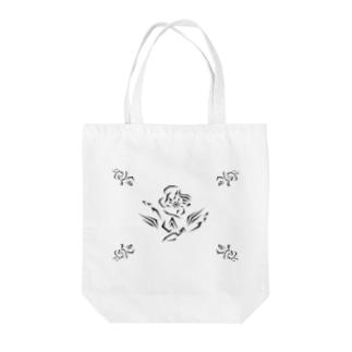 朝顔~Geometric Botany Tote bags