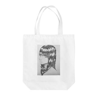 黒髪の女の子 Tote bags