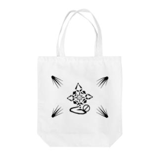 蓮~Geometric Botany Tote bags