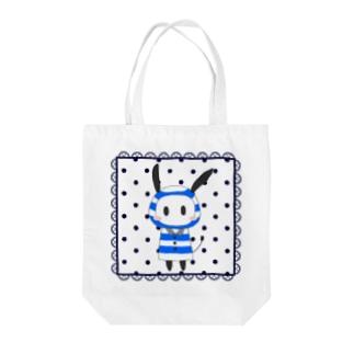 レインコード 四角レース 紺 Tote bags