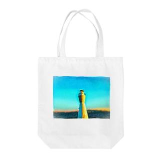 灯台LOVE ブルー Tote bags