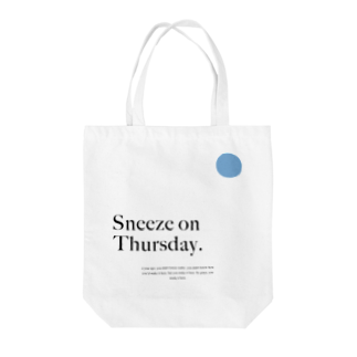 イラストレーター kimixのSneeze on Thursday - Blue Tote bags