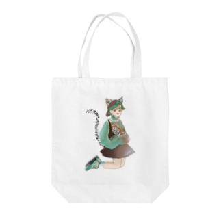 Green catgirl Tote bags