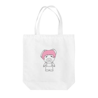ミニブタの子豚のトン子ちゃん。 Tote bags