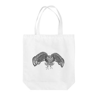 モノクロミミズク Tote bags
