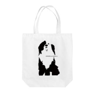 片パンダのボーダーコリーMIX Tote bags