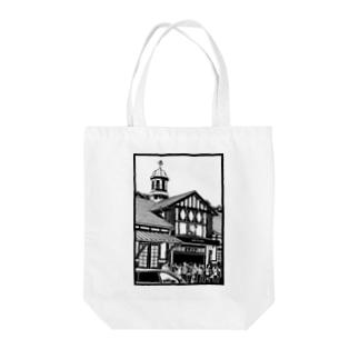 ありがとう原宿駅(切り絵風・枠付) Tote bags