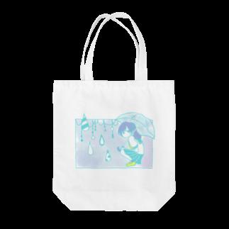 いぬおかの雨の日の女の子 Tote bags