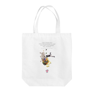 UNIREBORN WORKS ORIGINAL DESGIN SHOPのONLY THOSE WHO HAVE THE COURAGE TO JUMP INTO NEW CHALLENGES WILL ADVANCE. Tote bags