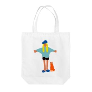 地球人(キャップ女子) Tote bags