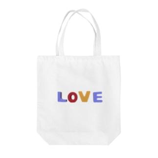 """LOVE"" (英語のブロックおもちゃ風) Tote bags"