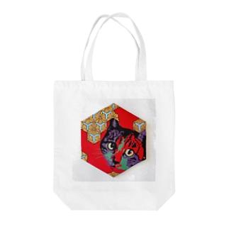 六角割花菱【猫】 Tote bags