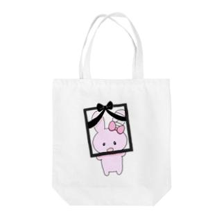 ぴえんの遺影うさちゃん Tote bags