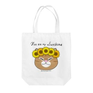 【おねむねこ】ひまわり冠の猫ちゃん(茶トラ) Tote bags