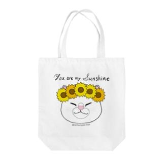 【おねむねこ】ひまわり冠の猫ちゃん(白猫) Tote bags