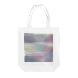 にじみボーダー Tote bags