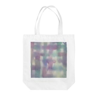 にじみチェック Tote bags
