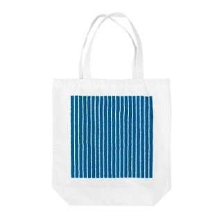 青と白の縦縞 Tote bags