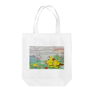 雨の日でも楽しもう! Tote bags
