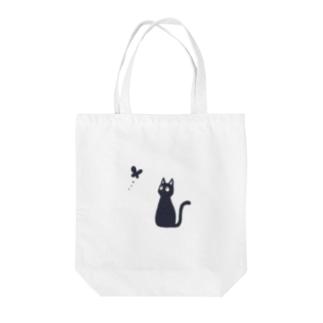 蝶と黒猫 Tote bags
